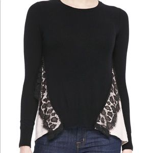 AUTUMN CASHMERE pink black lace SWEATER Small XS